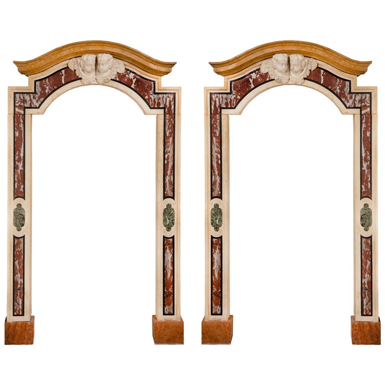 Pair of Italian 18th Century Baroque Style Marble Portals/Surrounds For Sale