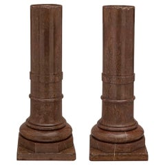 Pair of Italian 18th Century Burgundy Griotte Marble Columns