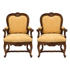 Pair of Italian 18th Century Carved Walnut Armchairs
