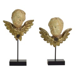 Pair of Italian 18th Century Carved Wooden Baroque Angel Heads