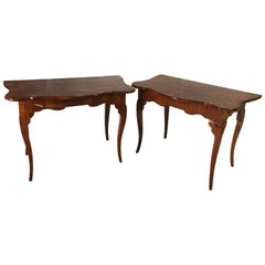 Pair of Italian 18th Century Console Tables, Walnut Veneer