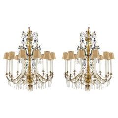 Pair of Italian 18th Century Crystal and Glass Genovese Chandeliers