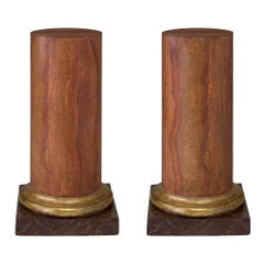 Pair of Italian 18th Century Faux Marble and Mecca Columns