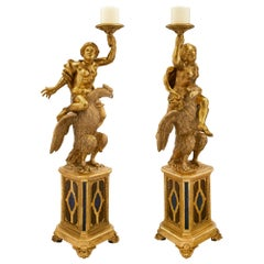 Pair of Italian 18th Century Giltwood and Faux Painted Baroque Torchières