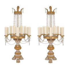 Pair of Italian 18th Century Giltwood and Gilt Metal Tuscan Candelabras
