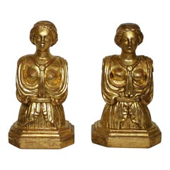 Pair of Italian 18th Century Giltwood Classical Busts