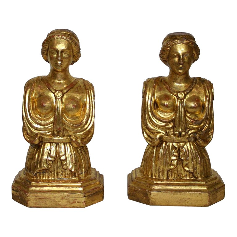 Pair of Italian 18th Century Giltwood Classical Busts For Sale
