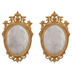 Pair of Italian 18th Century Giltwood Mirrors from Northern Italy