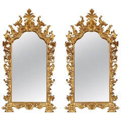 Pair of Italian 18th Century Giltwood Mirrors from Rome