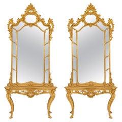 Pair of Italian 18th Century Louis XV Period Consoles with Original Mirrors