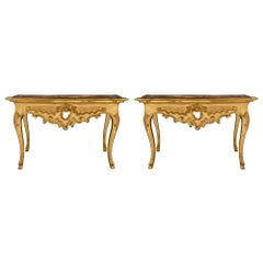 Pair of Italian 18th Century Louis XV Period Giltwood and Faux Marble Consoles