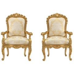 Pair of Italian 18th Century Louis XV Period Roman Giltwood Throne Armchairs