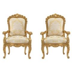 Pair of Italian 18th Century Louis XV Period Roman Giltwood Throne Armchairs