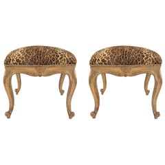 Pair of Italian 18th Century Louis XV Period Square Giltwood Benches