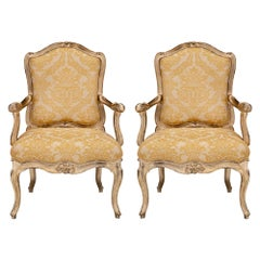 Pair of Italian 18th Century Louis XV Style Silvered Leaf Venetian Armchairs