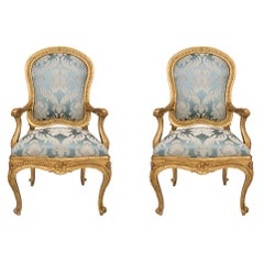 Pair of Italian 18th Century Louis XV Style Throne Giltwood Armchairs À Chassis