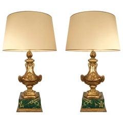 Pair of Italian 18th Century Louis XVI Period Design Elements Made into Lamps