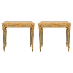 Pair of Italian 18th Century Louis XVI Period Freestanding Giltwood Consoles