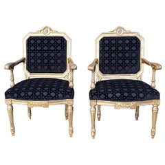 Pair of Italian 18th Century Louis XVI Period Giltwood Chairs