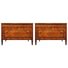 Pair of Italian 18th Century Louis XVI Period Kingwood and Tulipwood Chests
