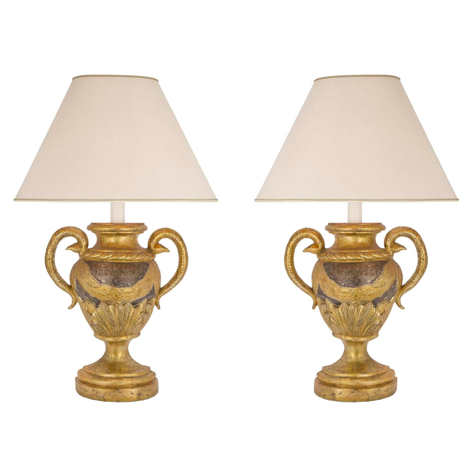 Pair of Italian 18th Century Louis XVI Period Mecca and Silver Leaf Lamps