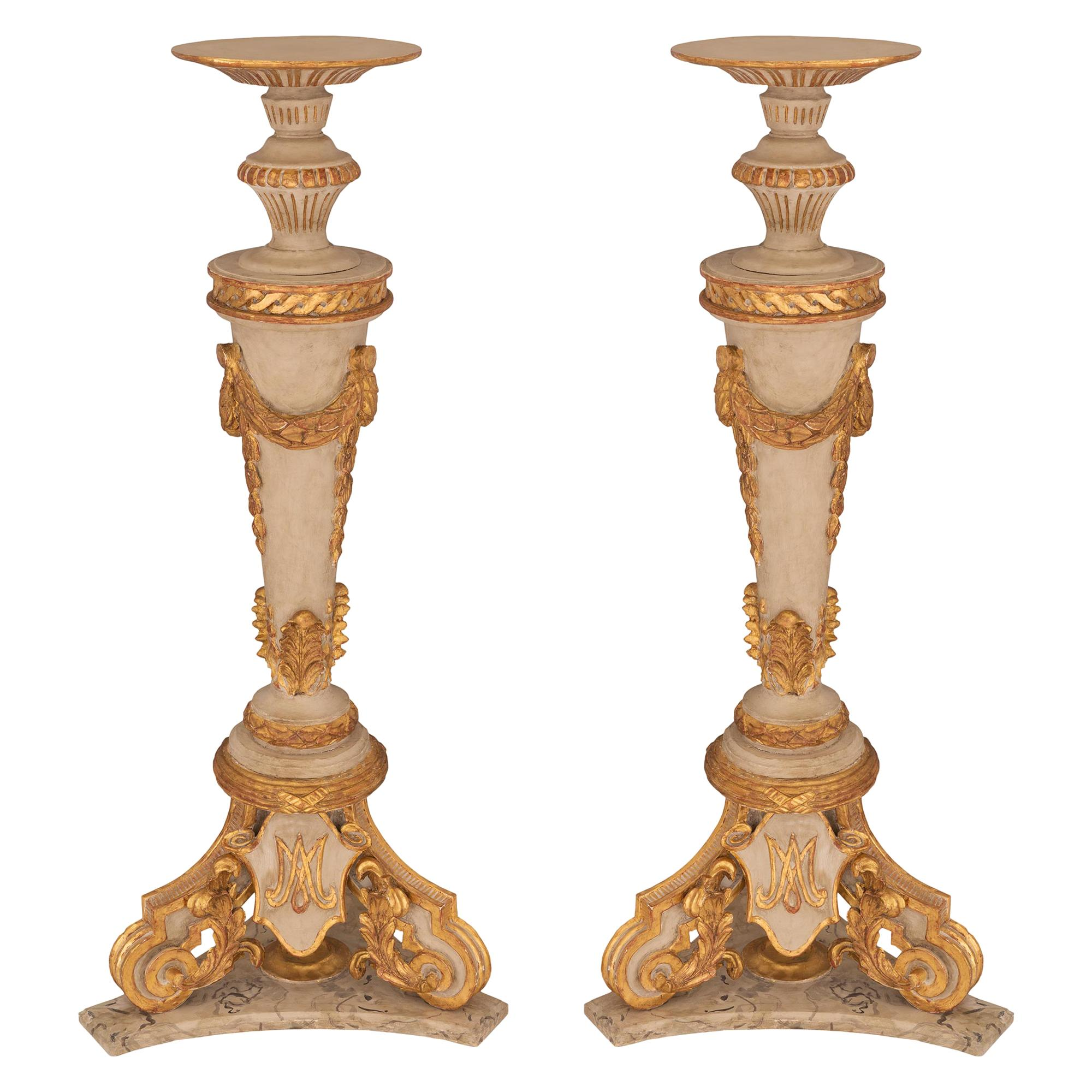 Pair of Italian 18th Century Louis XVI Period Patinated and Gilt Torchieres