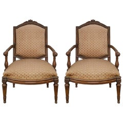 Pair of Italian 18th Century Louis XVI Period Walnut Armchairs
