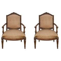 Pair of Italian 18th Century Louis XVI Period Walnut Armchairs