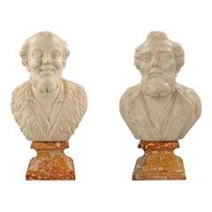 Pair of Italian 18th Century Marble Busts of Democritus and Heraclitus