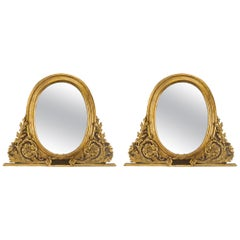 Pair of Italian 18th Century Mecca and Patinated Mirrors