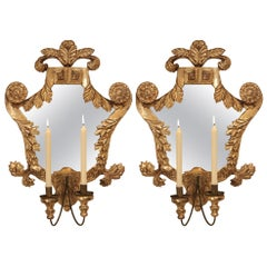 Pair of Italian 18th Century Mecca Mirrored Sconces