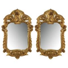 Pair of Italian 18th Century Mecca Mirrors with Original Mirror Plates