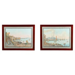 Pair of Italian 18th Century Neapolitan Gouaches in 19th Century Mahogany Frame