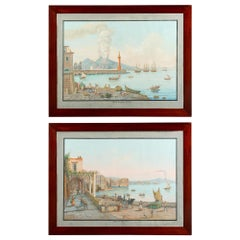 Pair of Italian 18th Century Neapolitan Gouaches in 19th Century Mahogany Frames