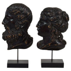 Pair of Italian 18th Century Neoclassical Carved Wooden Heads