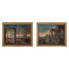 Pair of Italian 18th Century Oil on Canvas Paintings