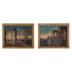 Pair of Italian 18th Century Oil on Canvas within Molded Edge Giltwood Frame