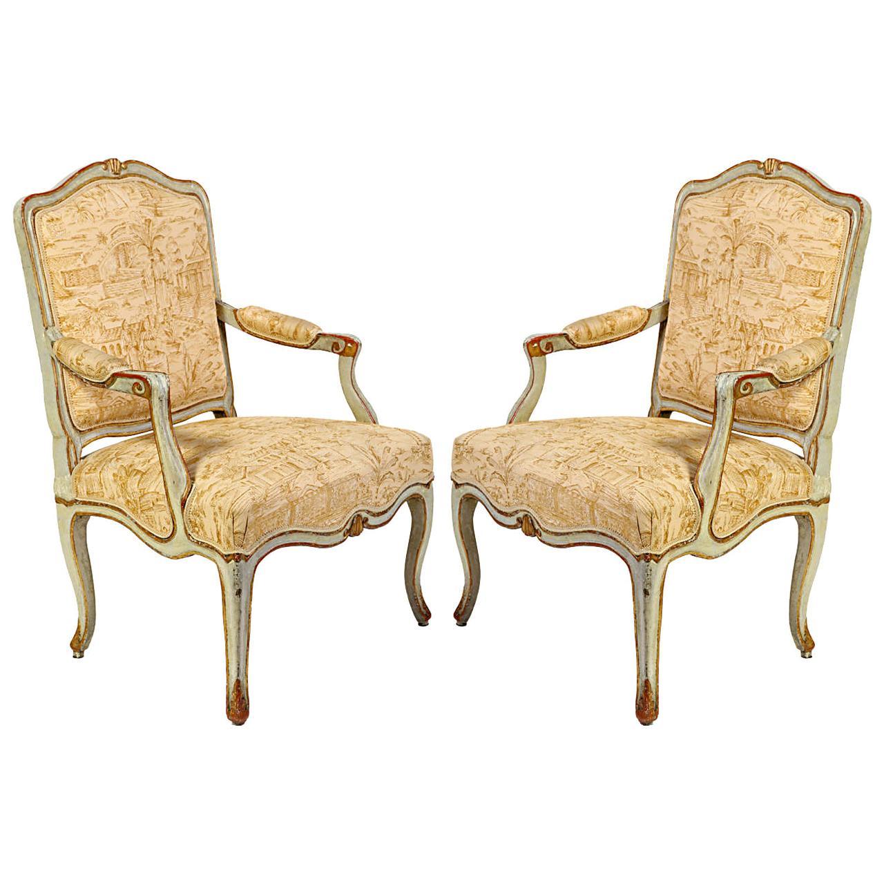 Pair of Italian 18th Century Painted Armchairs