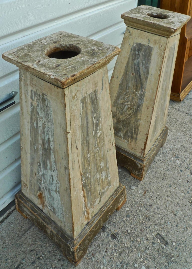 Pair of Italian 18th century painted wood pedestals.