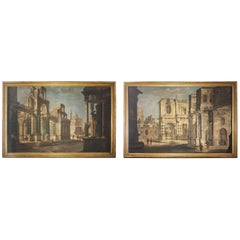 Pair of Italian 18th Century Painting Capriccio, Tempera on Canvas