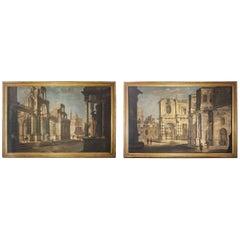 Pair of Italian 18th Century Painting Capriccio, Tempera on Canvas