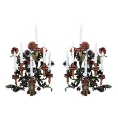 Pair of Italian 18th Century Patinated Metal and Wood Sconces
