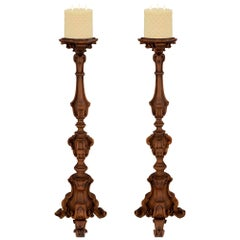 Pair of Italian 18th Century Regence Style Solid Walnut Torchères