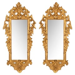 Pair of Italian 18th Century Rococo Style Giltwood Mirrors