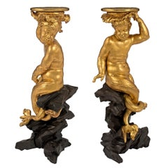 Pair of Italian 18th Century Roman Giltwood and Black Polychrome Pedestals