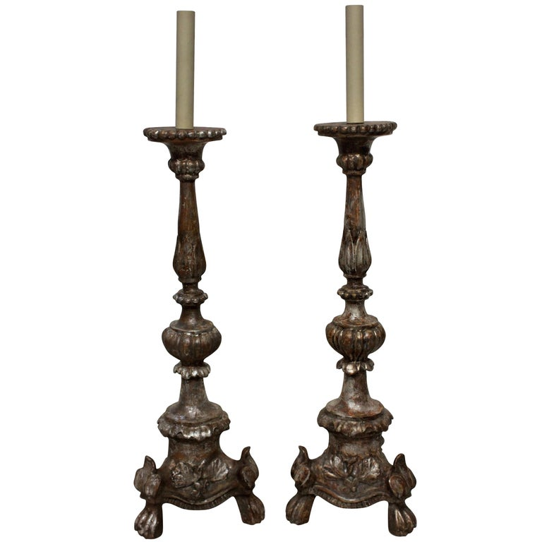 Pair of Italian 18th Century Silver Leaf Lamps