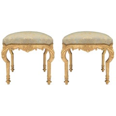 Pair of Italian 18th Century Transitional Giltwood Benches
