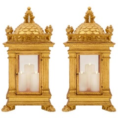 Pair of Italian 18th Century Tuscan St. Giltwood Lanterns, circa 1750