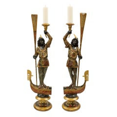 Pair of Italian 18th Century Venetian Ebony and Mecca Blackamoor Candlesticks
