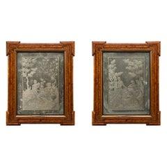 Pair of Italian 18th Century Venetian Etched Mirrors in Their Original Tulipwood